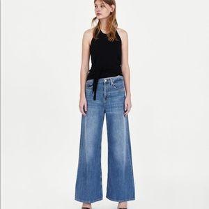 Zara Woman Premium Denim Collection wide leg jeans